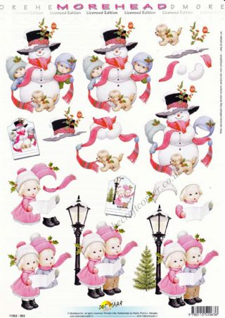Morehead Christmas Children & Snowman 3D Decoupage Craft Sheet
